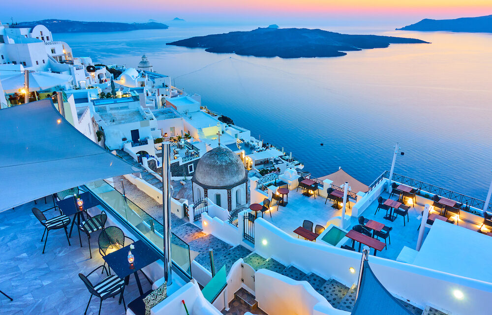 Evening in Santorini – Thira town and Aegean sea at sundown, Greece – Landscape